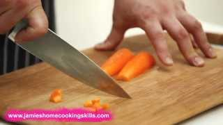 Chopping a carrot - Jaṁie Oliver's Home Cooking Skills