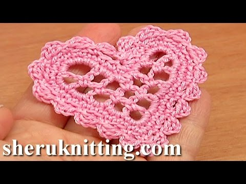 Crochet Tutorial Youtube : Crochet Mesh Heart Tutorial 11 Valentines Day, Wedding Ornament ...
