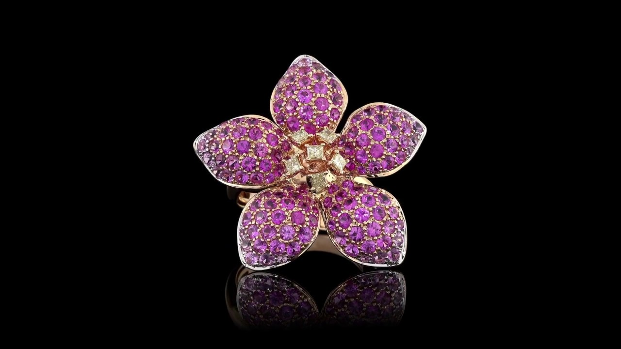 Pink Sapphire Flower Ring Youtube