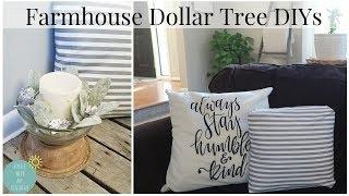 FARMHOUSE DECOR | DOLLAR TREE DIYS | NO SEW PILLOW | FAUX WOOD CANDLE HOLDER | SPRING | SHABBY CHIC