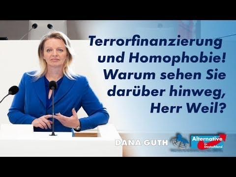 Terrorfinanzierung und Homophobie! Warum sehen Sie darüber hinweg, Herr Weil? Dana Guth, MdL (AfD)