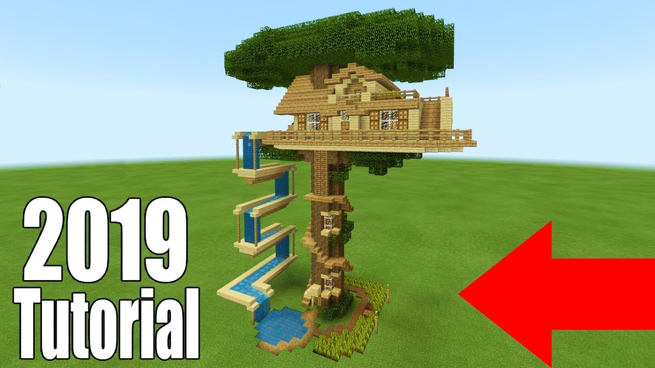 Minecraft Tutorial: How To Make A Ultimate Survival Tree house With a Water  Slide 10