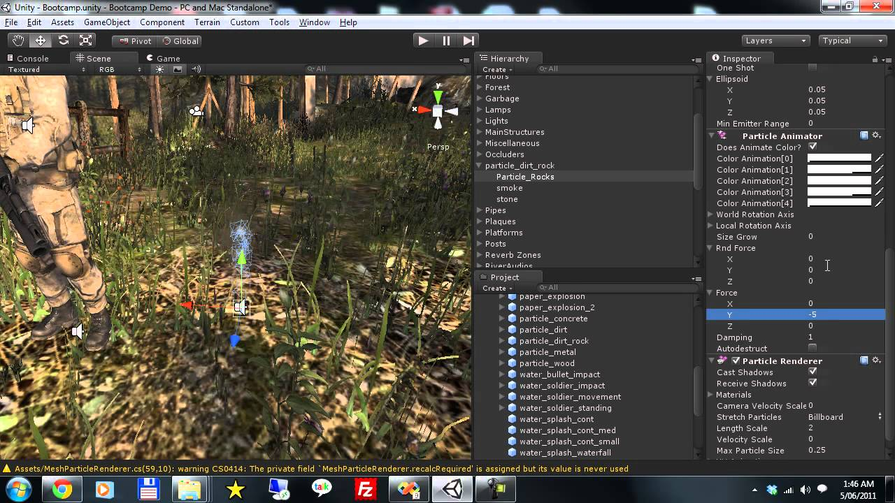 Unity 3D Mesh Particle Renderer Bootcamp Demo