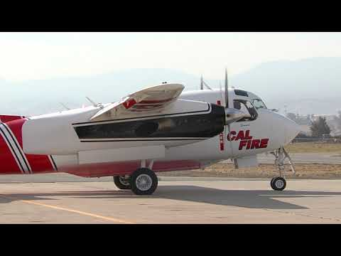 CAL FIRE Hot Loading Tanker 86 At Hollister KCVH Raw Video