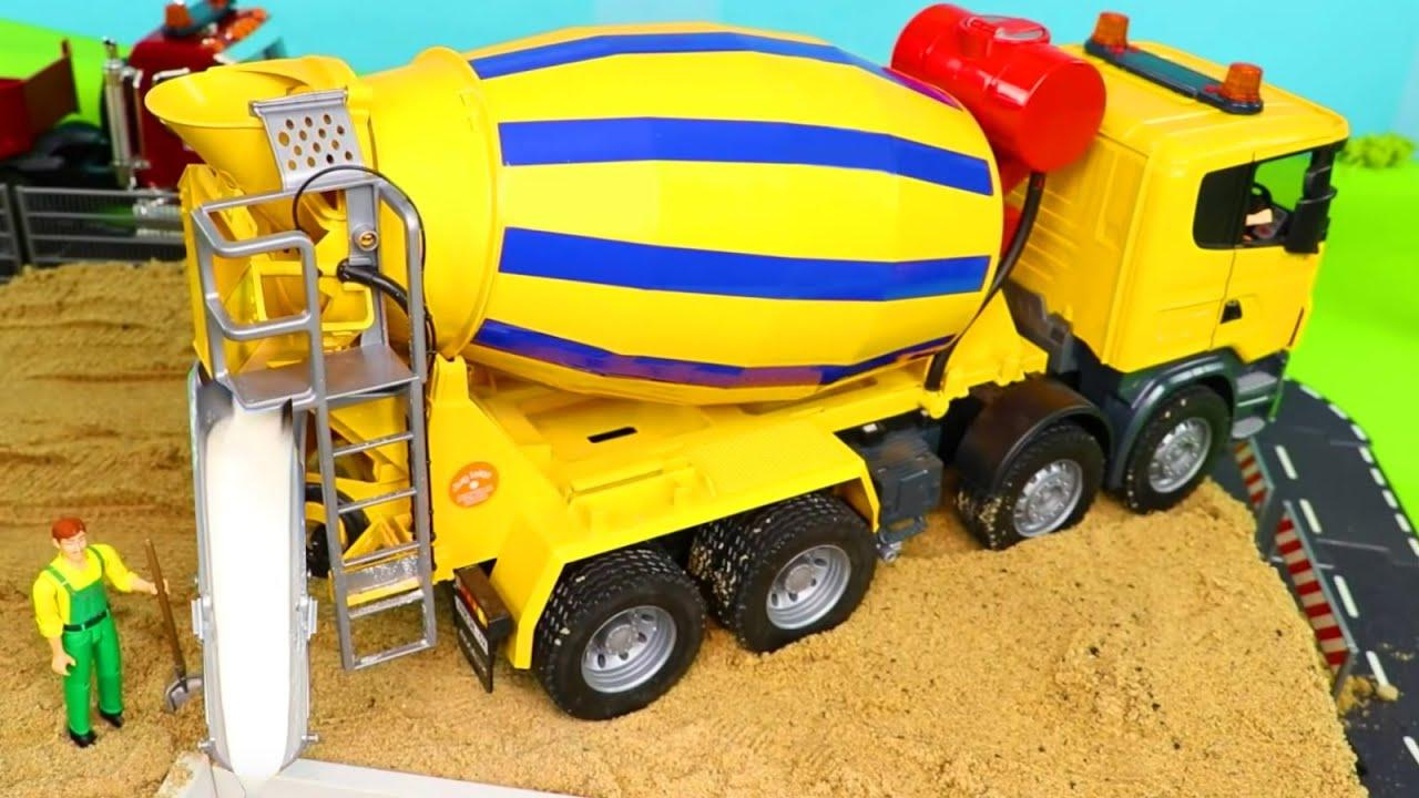 Concrete Mixer Police Cars Fire Truck Excavator