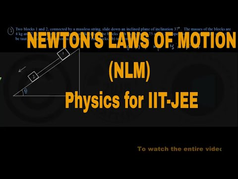 PROBLEMS ON NEWTON'S LAWS OF MOTION (Part-I) (NLM) CE _ Physics for IIT-JEE _ Physics Academy Online