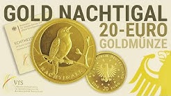 GOLDMÜNZE für  Sammler - Deutsche 1/8 Unze GOLD 20 Euro NACHTIGALL 2016 (Heimische Vögel)