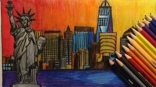skyline york draw silhouette colouring pencils