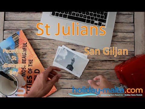 St Julians Malta, San Giljan, Paceville, St Georges Bay Traveller Video