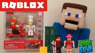 ROBLOX Series 1 Deluxe Figures Game Packs minecraft (Work at a Pizza Place, High School) Unboxing