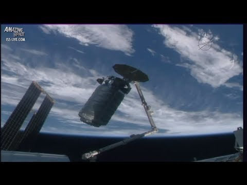 Orbital ATK Cygnus arrives at the International Space Station (ISS)  - sped up footage