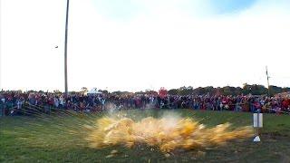 Massive pumpkin drops from 100 ft. crane at Minnesota festival
