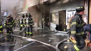 FDNY BOX 1785 - FDNY BATTLING MAJOR 4TH ALARM FIRE IN ROW OF TAXPAYERS ON NAGLE AVENUE.