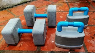 HOW TO MAKE DUMBBELLS CEMENT- GYM AT HOME (TRY YOUR OWN)