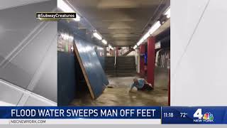 Man Knocked Down by Flood Water at New York Subway Station   NBC New York