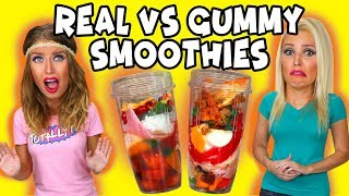 Gummy Smoothie Challenge: Real vs Gummy Food. Totally TV