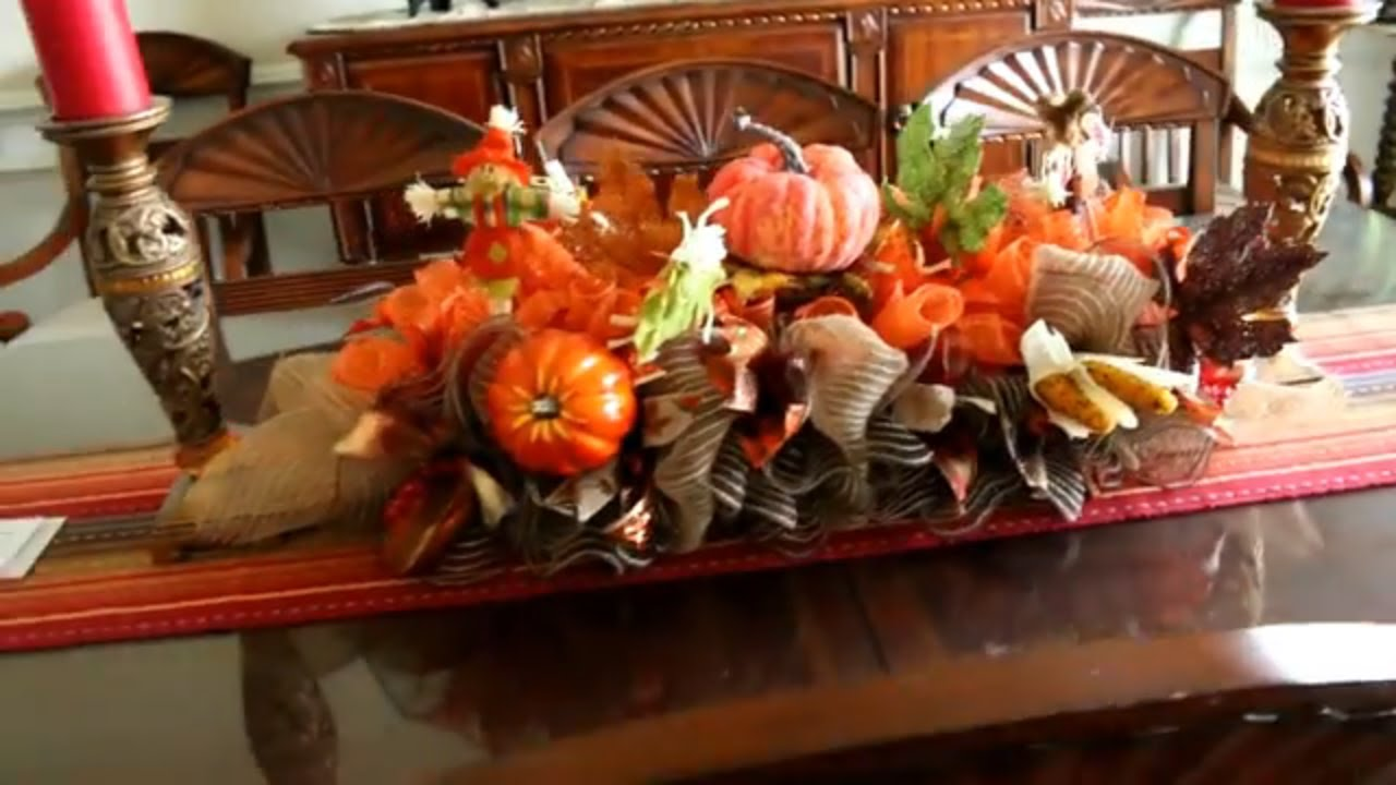 How to make a fall deco mesh centerpiece youtube