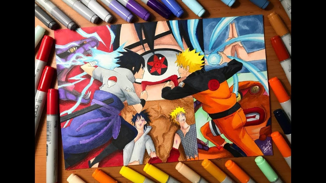 Speed Drawing Naruto S Rasengan Vs Sasuke S Chidori Naruto Shippuden Hd