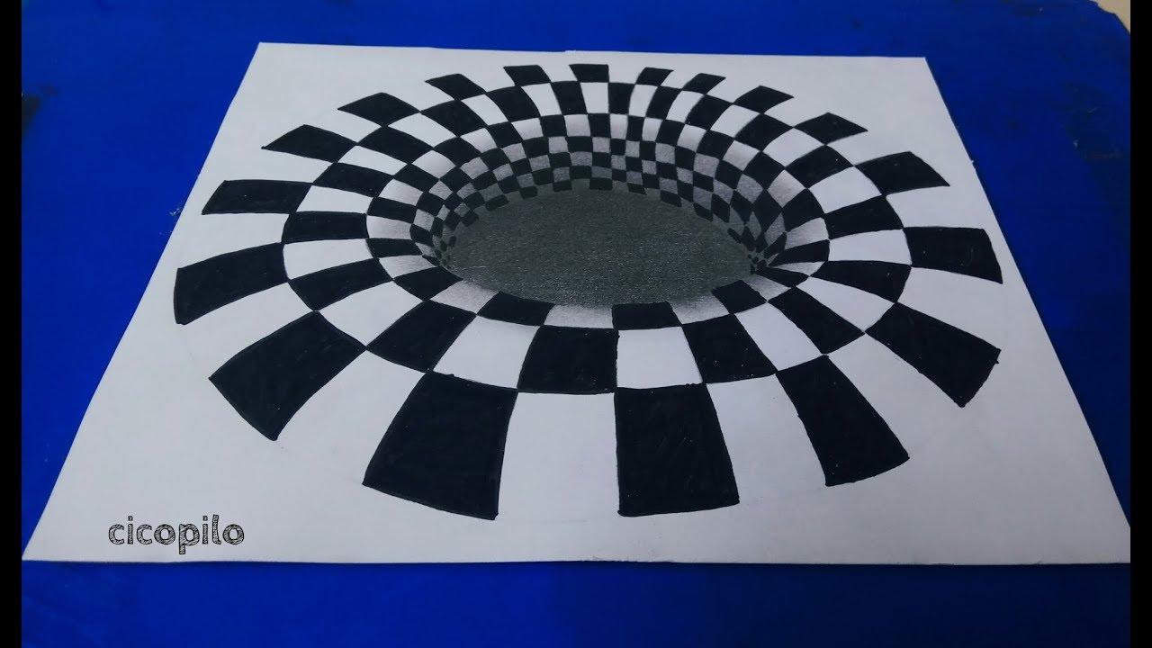 Cara Menggambar Ilusi Optik Pola Kubus 3d Youtube