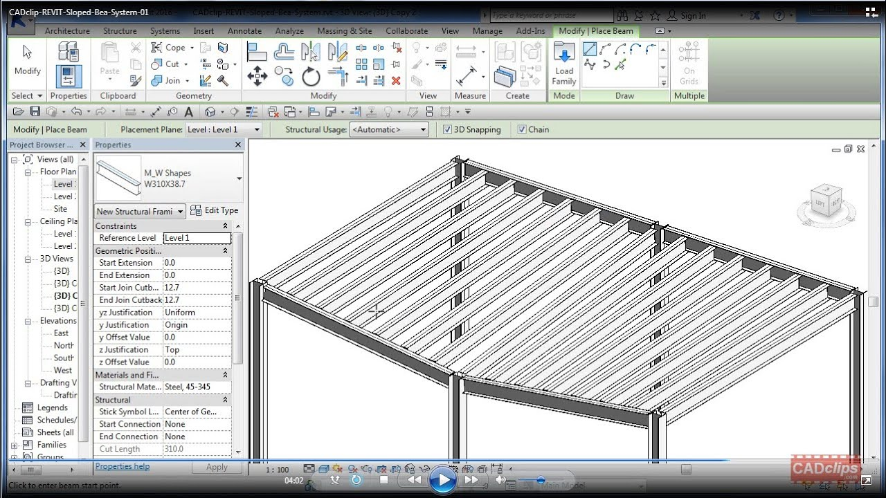 Revit Sloped Beam System Cadclip Youtube