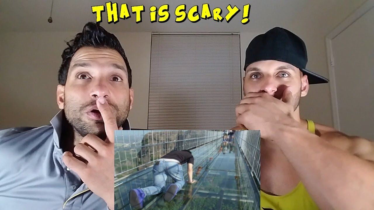 People are terrified to cross glass bridge in china - Funny Compilations [REACTION]