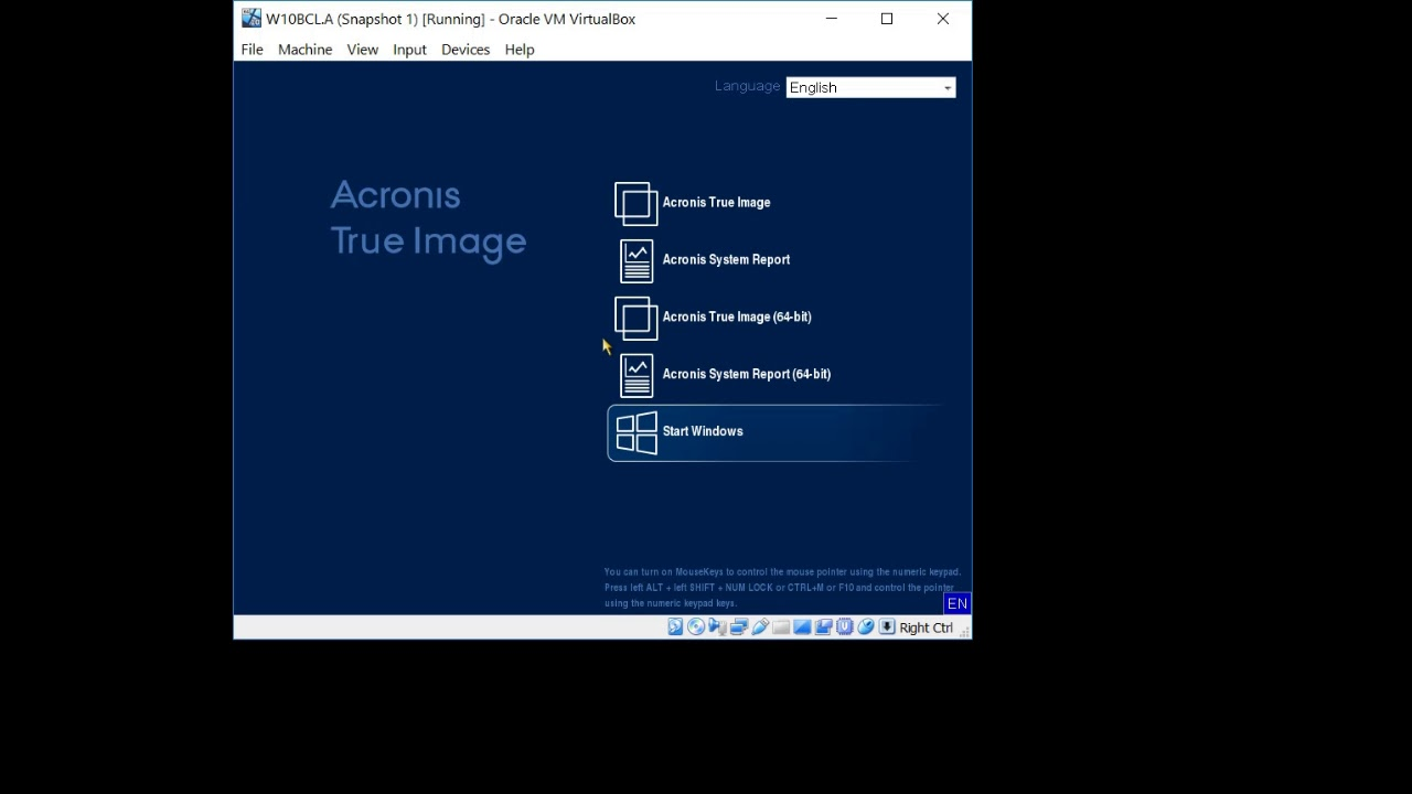 Acronis True Image 2019 - How to restore from VHD