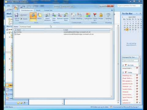Creating an Email Group or Distrubution List in Outlook 2007