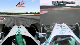 assetto corsa vs real life f1 2014 formula corsa mercedes w05 ferrari f14t silverstone