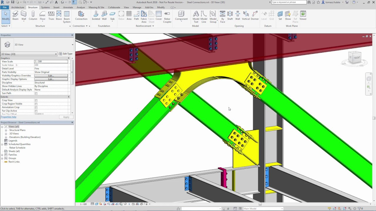 revit 2018 new feature new steel connections [ 1280 x 720 Pixel ]