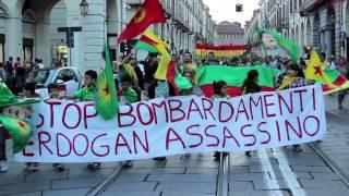 Torino: manifestazione di solidarietà con il popolo curdo 18/09/2015
