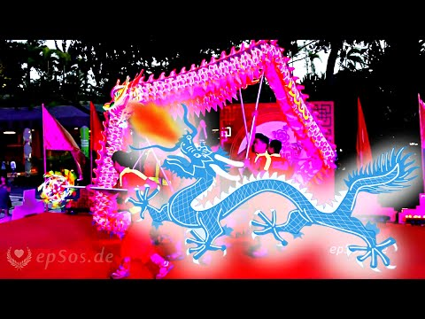 Chinese Dragon Dance in Singapore.