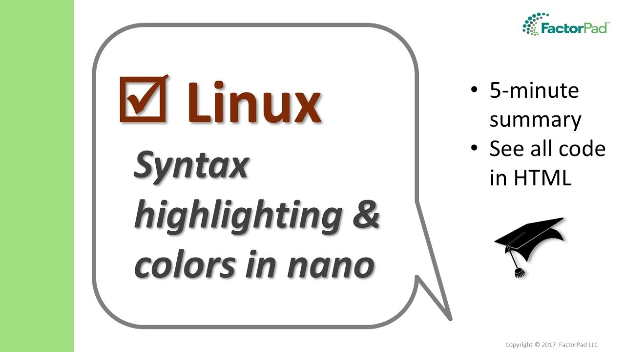 Enable syntax highlighting and colors in nano | Linux
