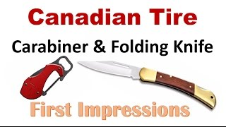 Candian Tire OUTBOUND branded knife review  A old school back-lock and a  caribiner knife  by Canadian Cutting Edge