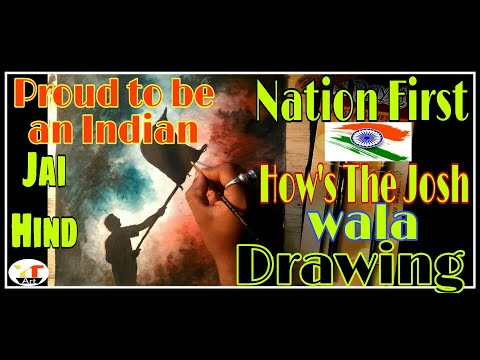 How To draw India Flag With Indian Man | 2020 | Water Color Drawing Hindi