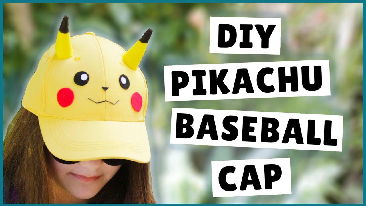 White baseball caps for crafts - Diy Pikachu Baseball Cap Diy Pikachu Hat Diy Pok Mon Craft