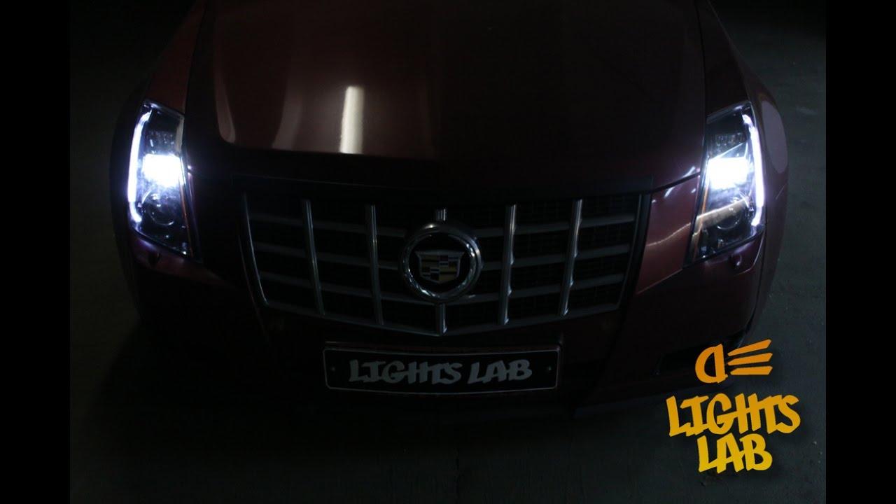 Тюнинг фар Cadillac CTS установка ДХО