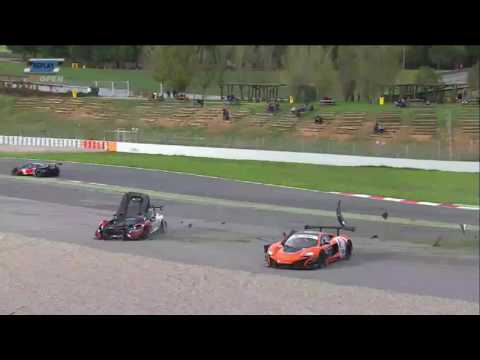 International GT Open 2016. Race 2 Barcelona Ring. Jean Luc Beaubelique & Duncan Tappy Big Crash