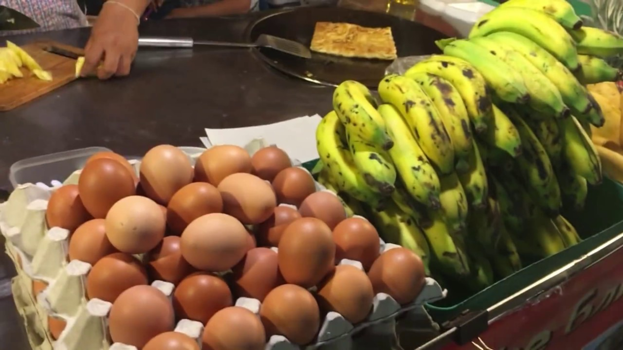 Thai Cute Girl Roasty Banana and Mango with Eggs-The Most ...