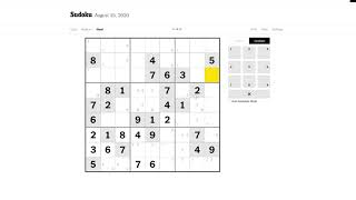 New York Times Hard Sudoku 15/08/2020