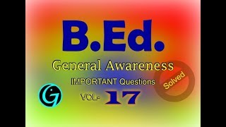 B.Ed Entrance Questions | Common Questions for all states | Aptitude Questions | All India Questions