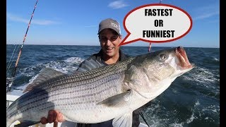 FASTEST STRIPED BASS EVER CAUGHT ON VIDEO ! TONY MAJA-GYPSEA CHARTERS