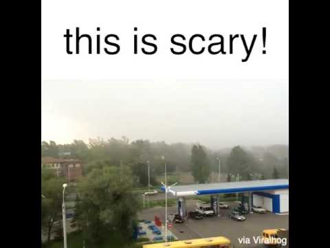 Ultra scary Windstorm within seconds - Gas station