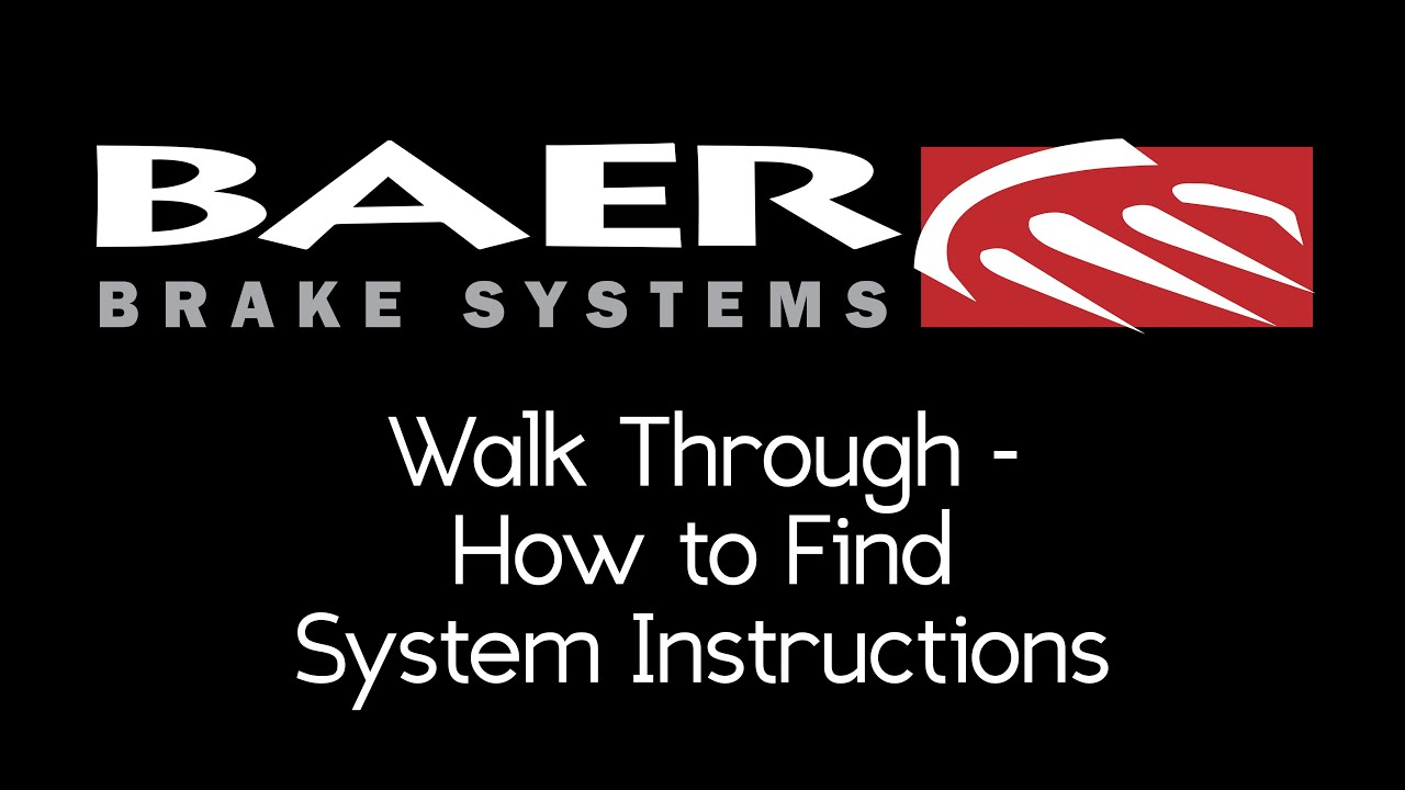 How To Find Instructions Install Brake System Baer Brakes
