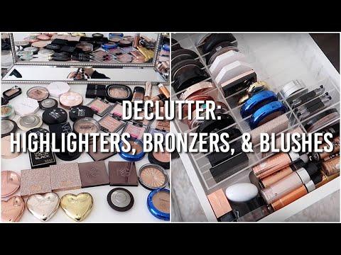 MAKEUP DECLUTTER: Highlighters, Bronzers, & Blushes 2018