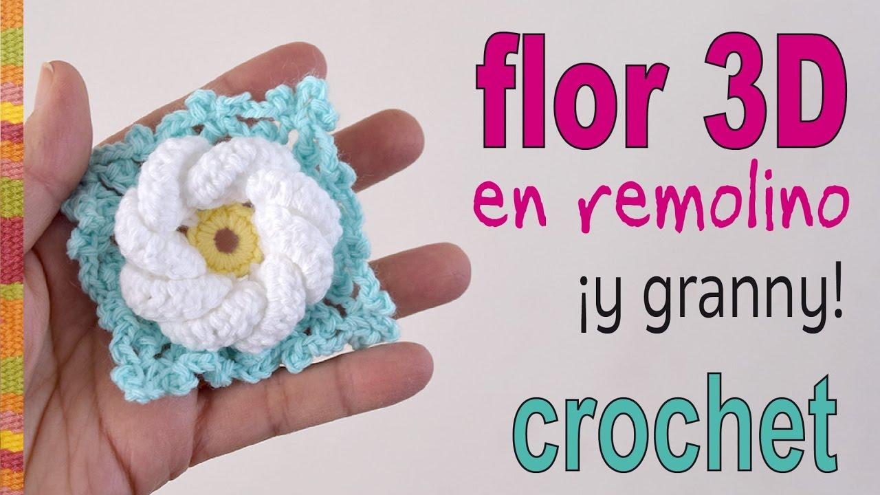 Flor remolino 3D (¡y granny!) a crochet - Tejiendo Perú - YouTube
