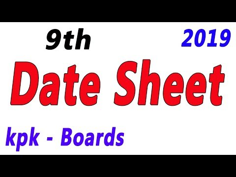 BISE MARDAN BOARD MATRIC DATE SHEET 2019 MARDAN BOARD 9TH