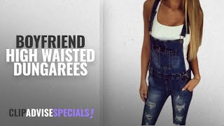 Top 10 Boyfriend High Waisted Dungarees [2018]: Hellomiko Women Ripped Slim Fit Stretch Denim