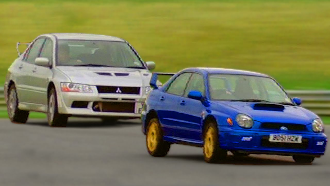 subaru impreza wrx vs mitsubishi evo 7 tbt fifth gear. Black Bedroom Furniture Sets. Home Design Ideas