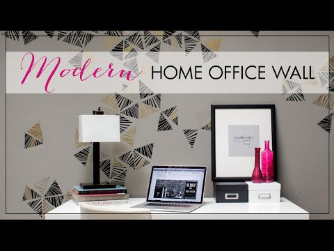 How to stencil tutorial paint a modern home office for Home office accent wall