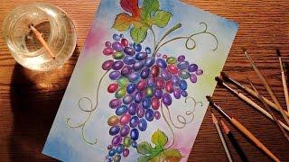 Рисуем виноград акварелью. Ускоренное видео / Draw grapes in watercolor. Speed Painting(Ускоренное видео. Акварель. Виноград. Speed Painting. Speed Drawing. Watercolor. Grapes. Music -
